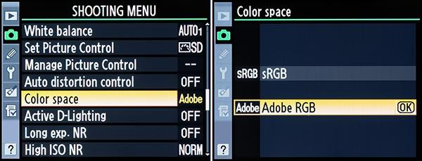 Настройка цветового пространства - Nikon