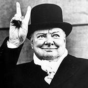 Фотограф Альфред Эйзенштадт - Уинстон Черчилль на политическом митинге, 1951