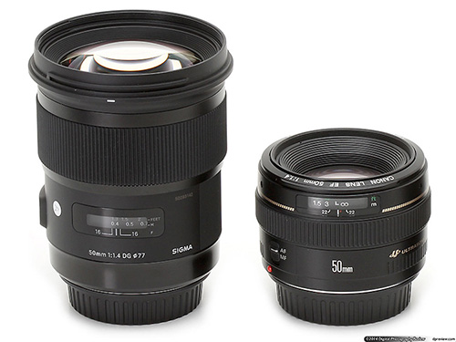 Сравнение размера объективов Sigma 50mm F1.4 DGHSM Art и Canon EF 50mm F1.4 USM