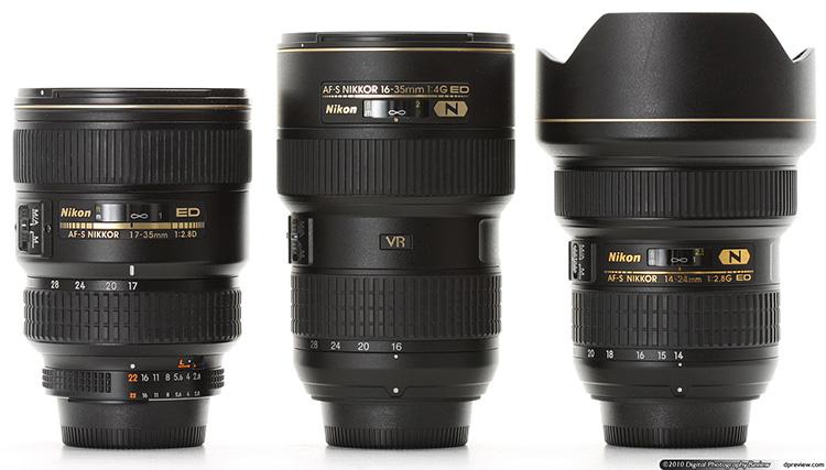 Сравнение Nikkor 16-35mm с другими объективами