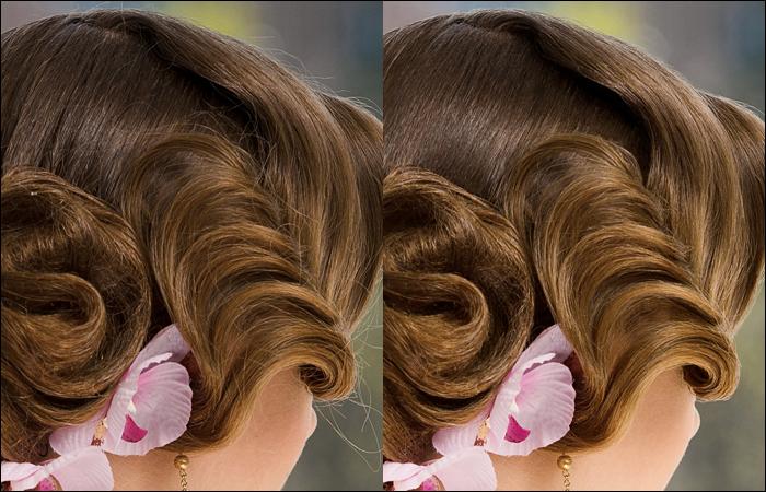 Удаление выбившихся волос внутри прически